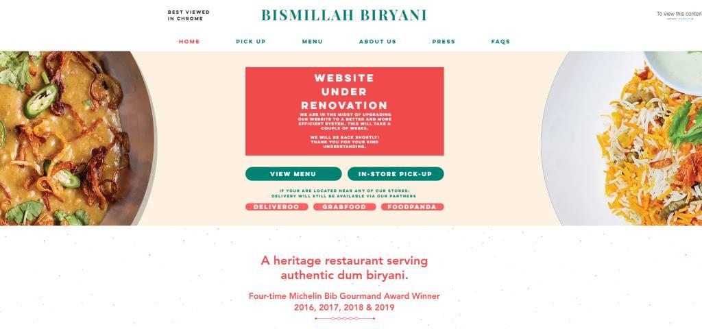 Bismillah Biryani Top Michelin Featured Restaurants in Singapore