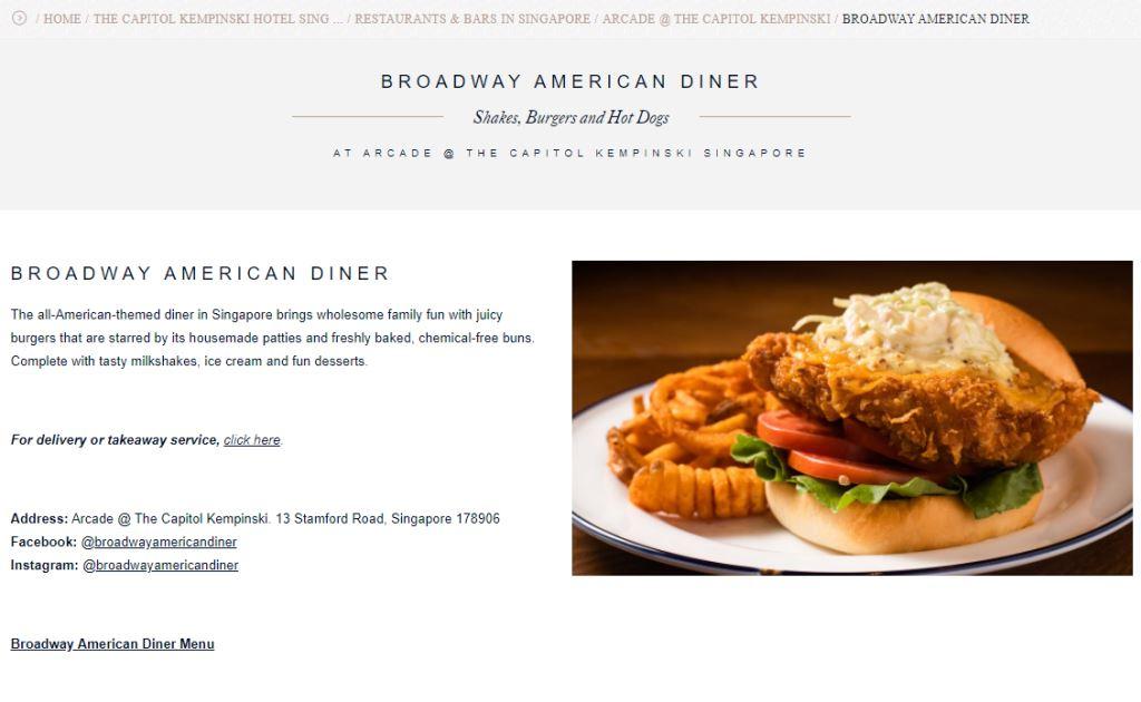 Broadway American Dinner Top Western Food Restaurants in Singapore
