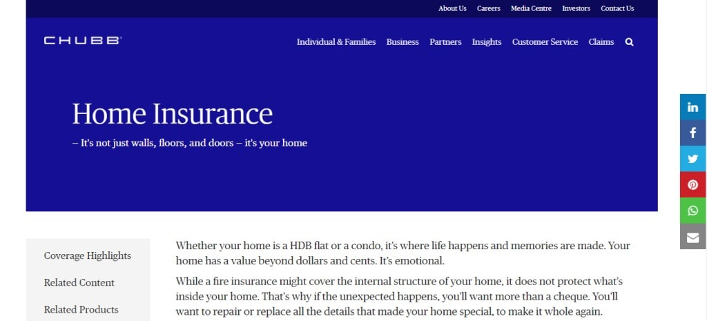 Chubb Top Home Insurance Providers in Singapore