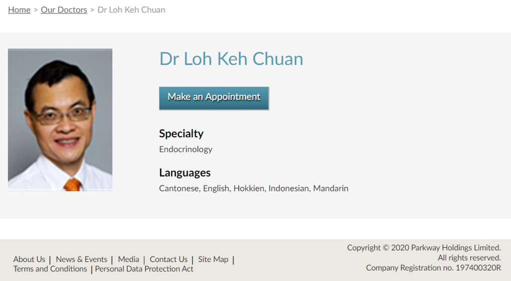 Dr Loh Keh Chuan Top Endocrinologists in Singapore