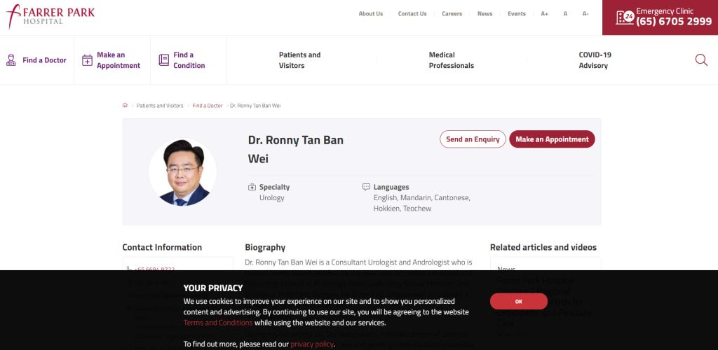 Dr Ronny Tan Ban Wei Top Urologists in Singapore