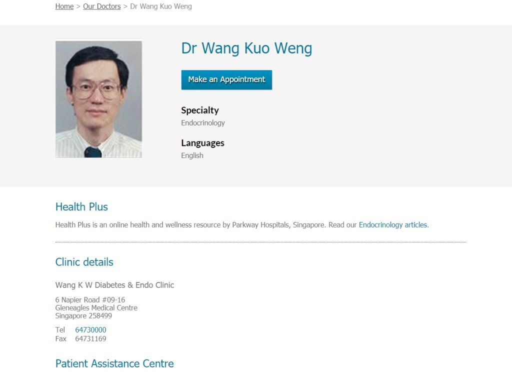 Dr Wang Top Endocrinologists in Singapore