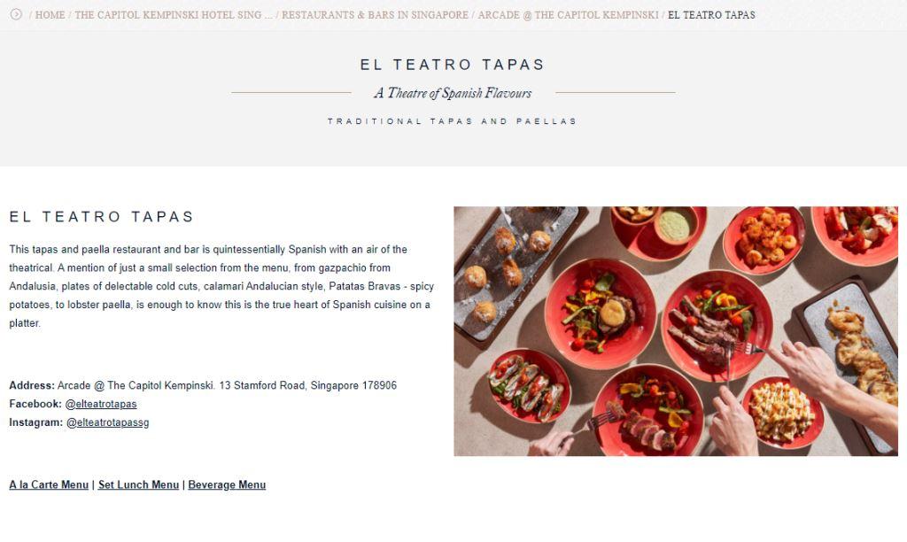 El Teatro Tapas Top Western Food Restaurants in Singapore