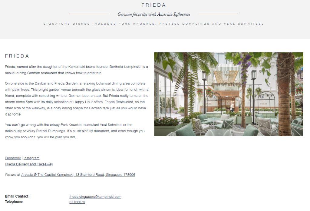 Frieda Top Western Food Restaurants in Singapore