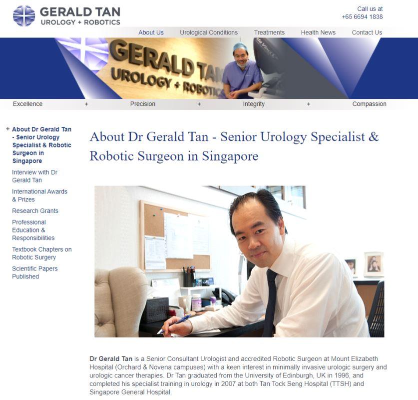 Gerald Tan Top Urologists in Singapore