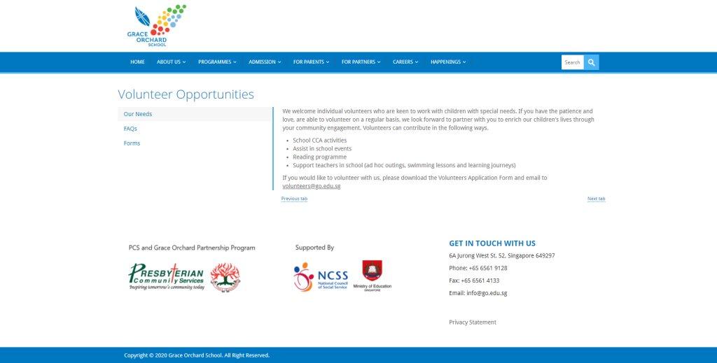 Grace Orchard Top Volunteering Opportunities in Singapore