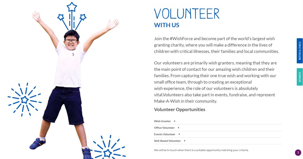 MAke a Wish Top Volunteering Opportunities in Singapore