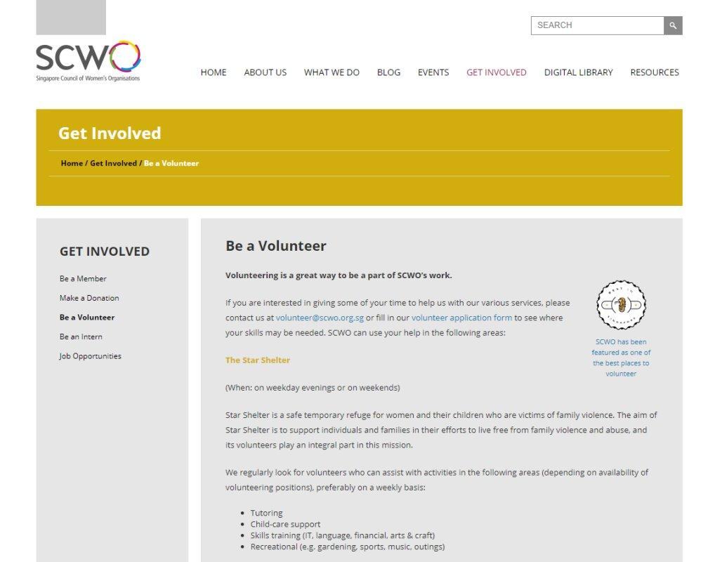 SCWO Top Volunteering Opportunities in Singapore