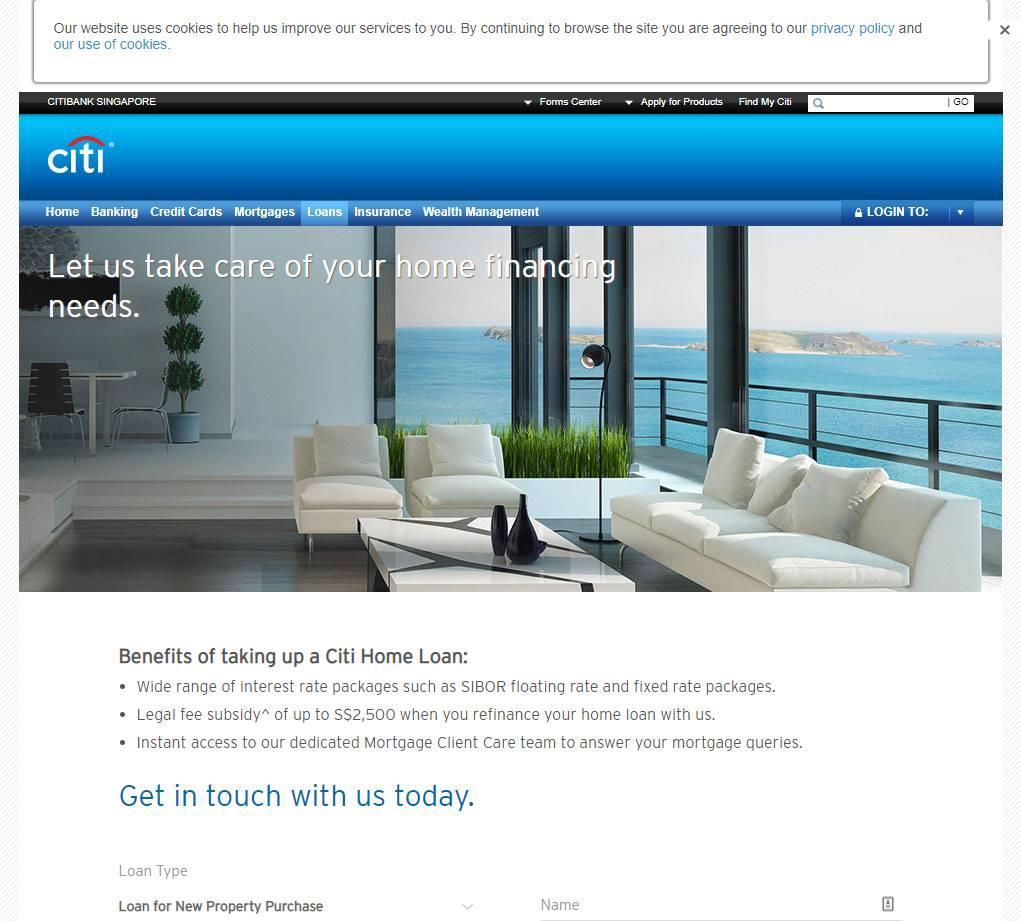 Citi BAnk Top Home Loan Providers in Singapore