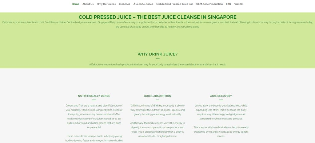 DAily Juice Top Fruit Juice Bars in Singapore