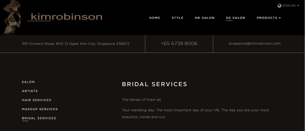 Kim Robinson Top Bridal Services in Singapore