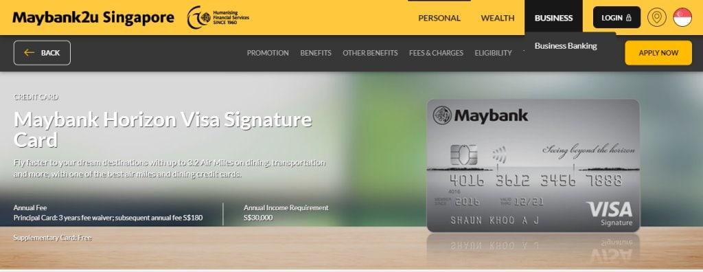 Maybank 2u Top Credit Cards in Singapore
