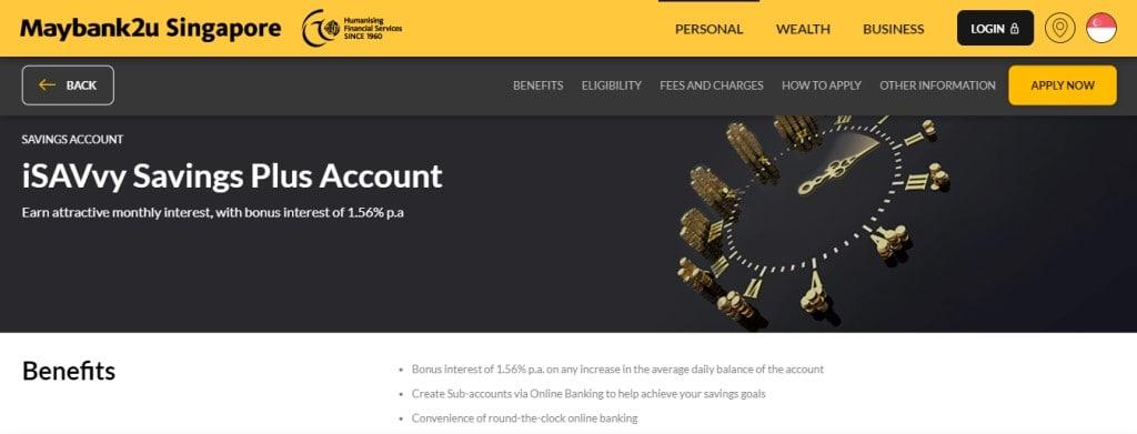 Maybank2u iSavvy Top Savings Accounts in Singapore