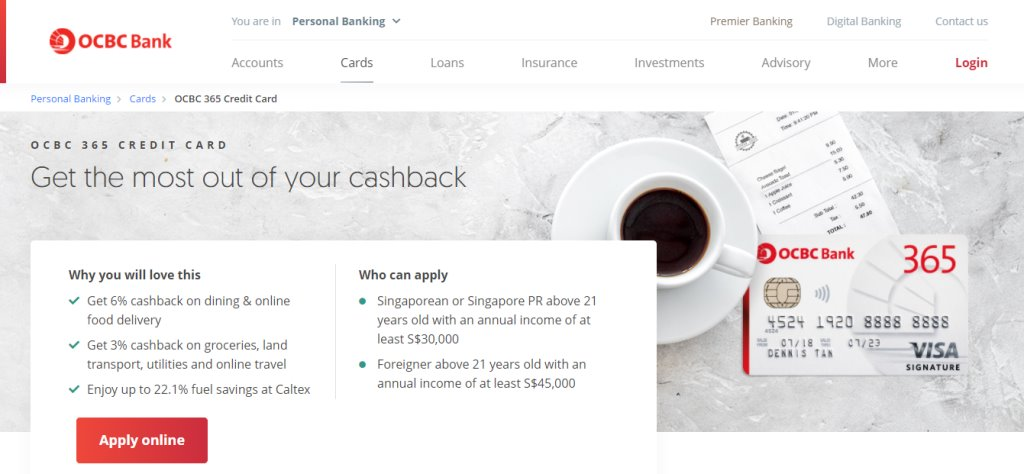 OCBC 365 CRedit Card Top Credit Cards in Singapore