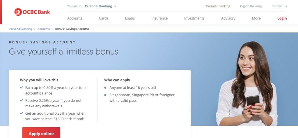 OCBC Bonus Top Savings Accounts in Singapore