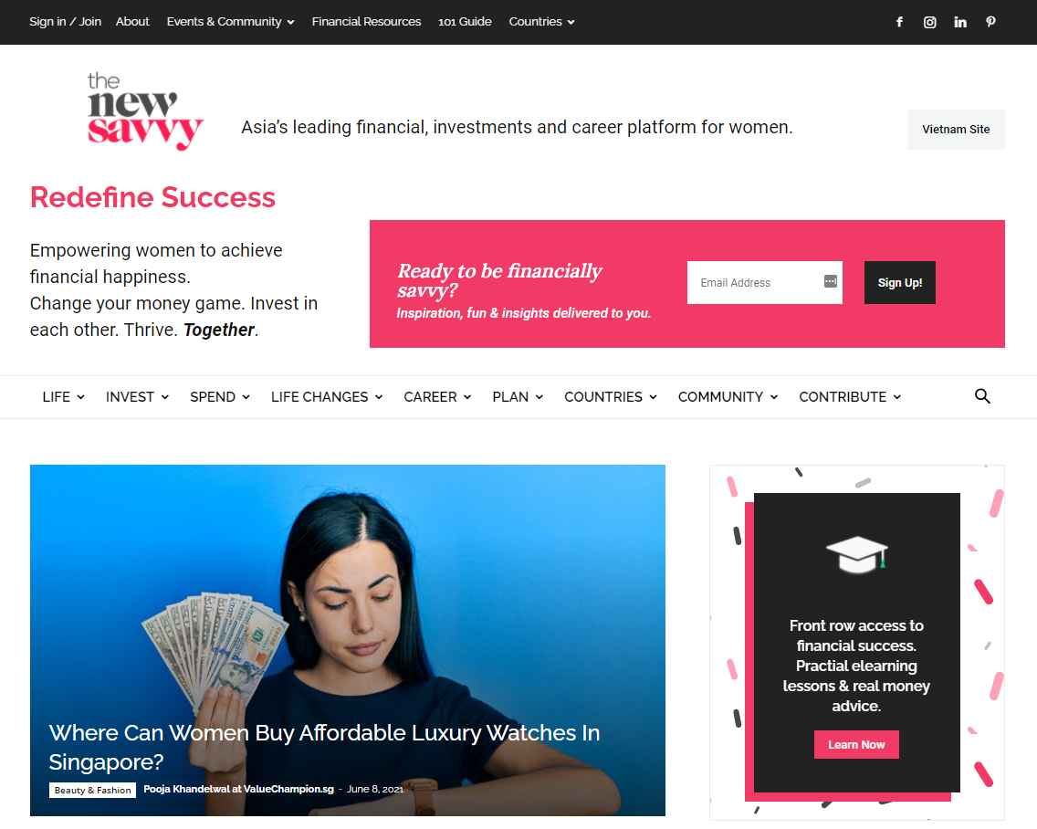 the new savvy Top Finance Blogs in Singapore
