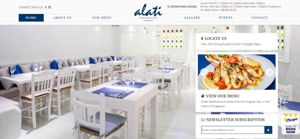 Alati Top Greek Restaurants in Singapore