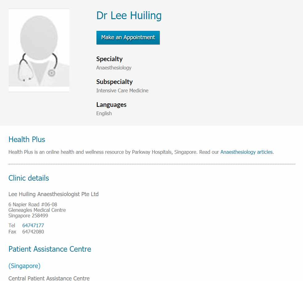 Dr Lee Huiling Top Anaesthesiologists in Singapore