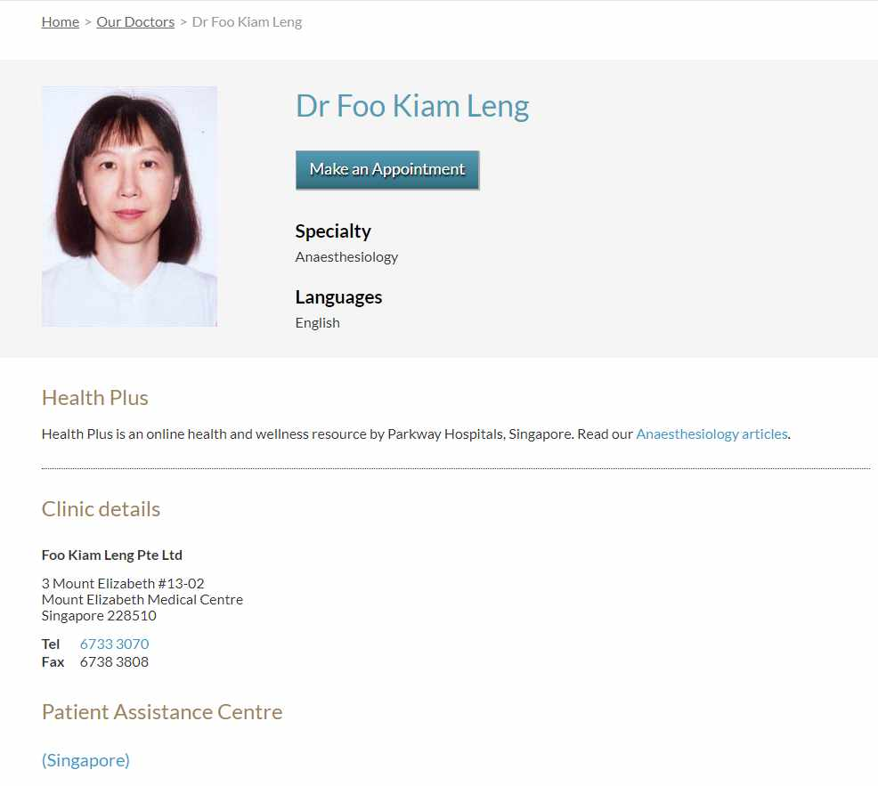 Dr foo kiam leng Top Anaesthesiologists in Singapore
