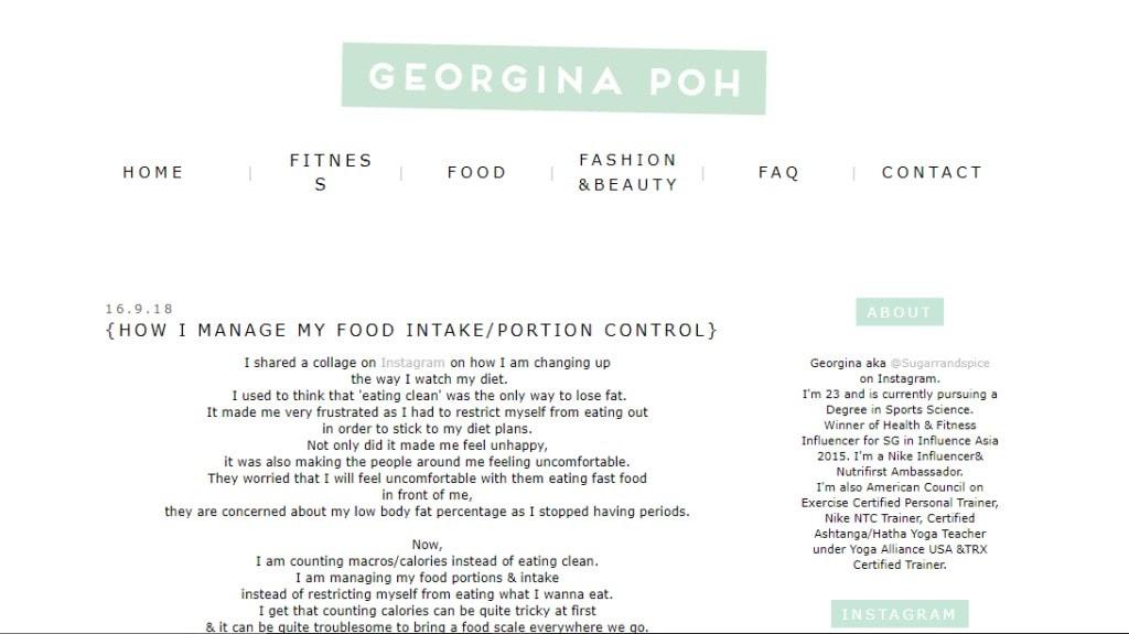 Georgina Poh Top Fitness Blogs in Singapore