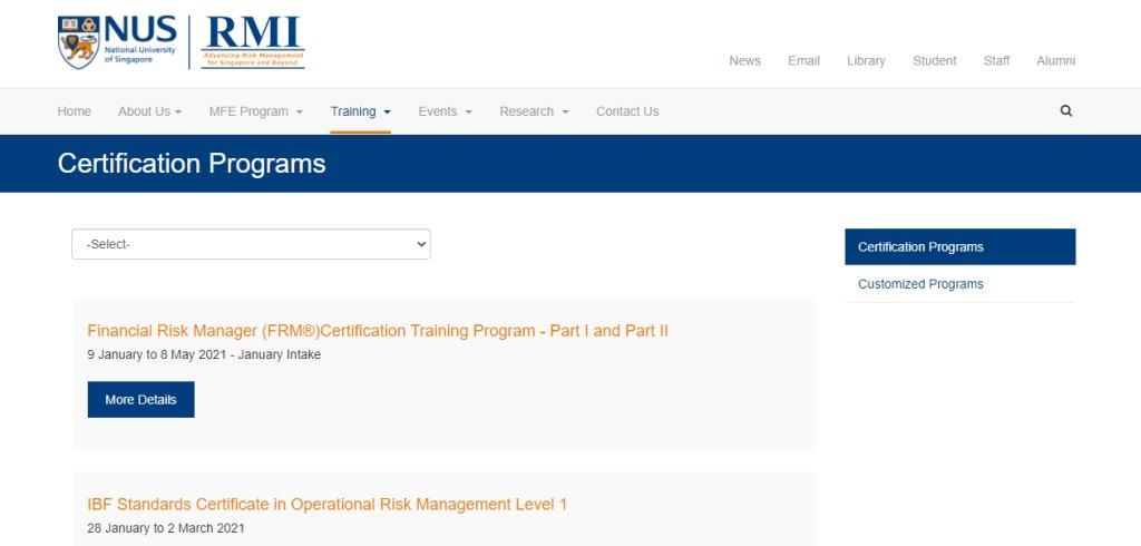 NUS RMI Top Professional Certification Training Providers in Singapore