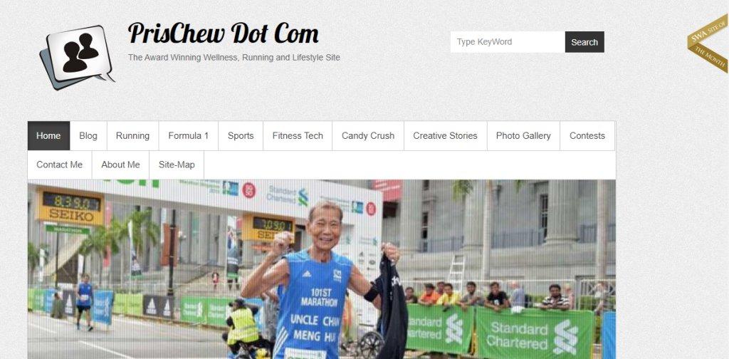 PrisChew Top Fitness Blogs in Singapore