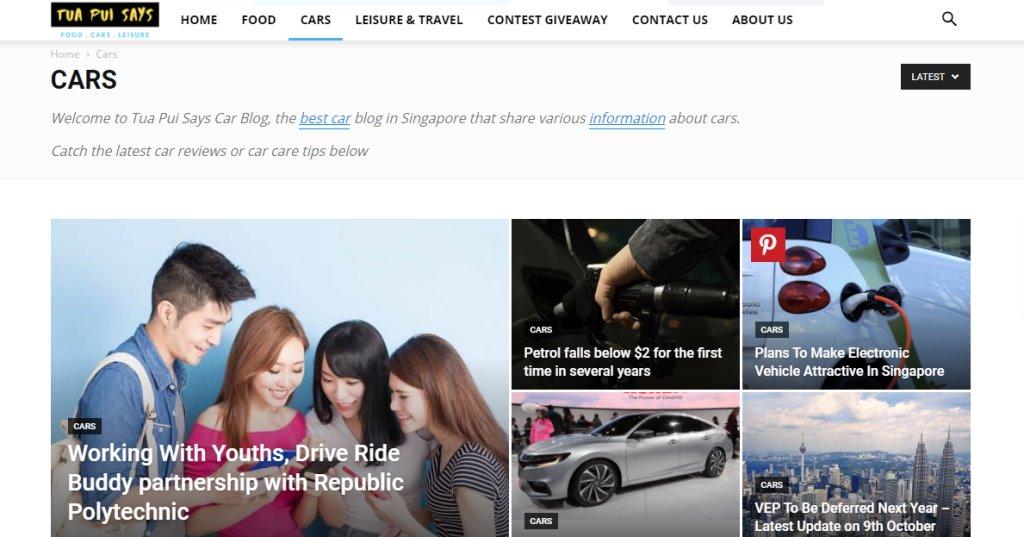 Tua Pui Says Top Auto Blogs in Singapore