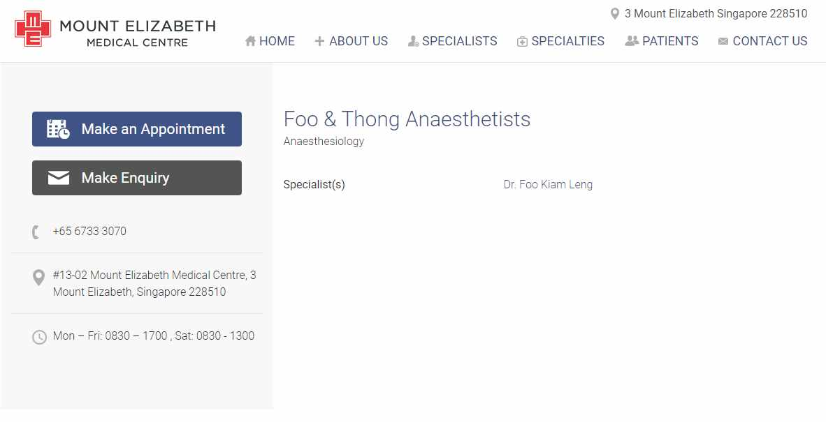 foo and thong Top Anaesthesiologists in Singapore