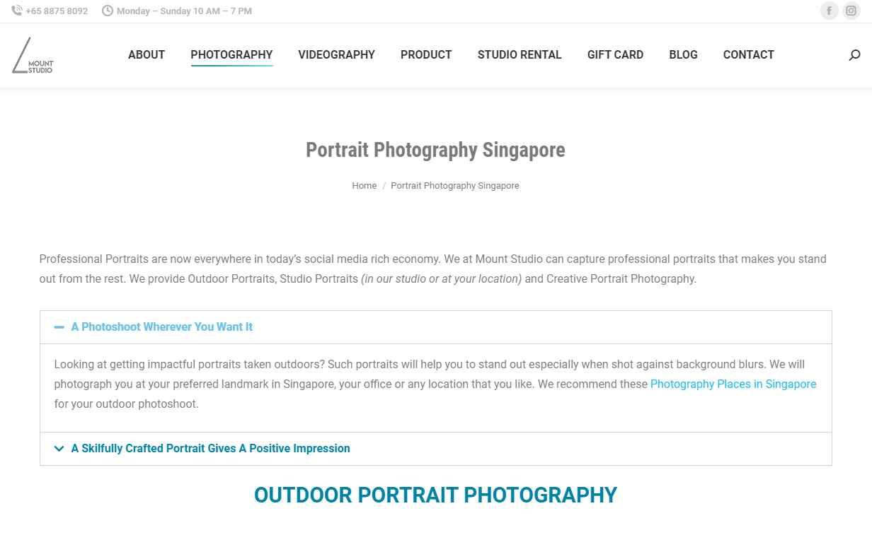 mount studio Top Portrait Photography Studios in Singapore