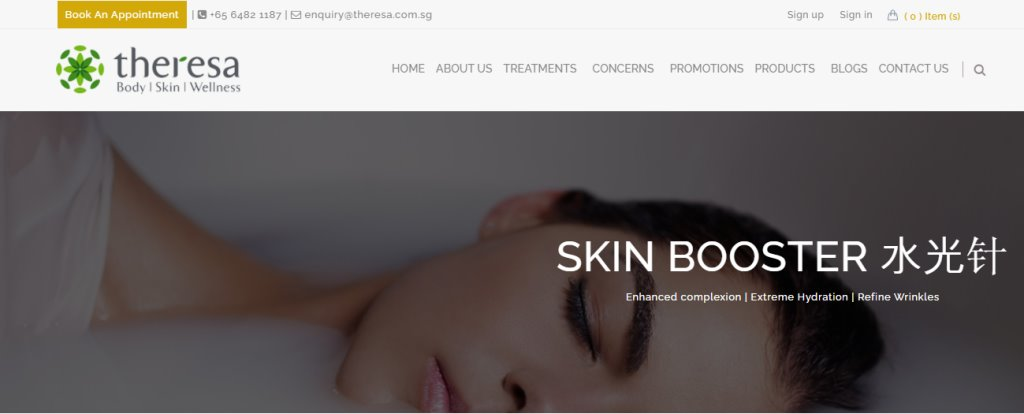 Theresa Top Skinboosters Clinics in Singapore