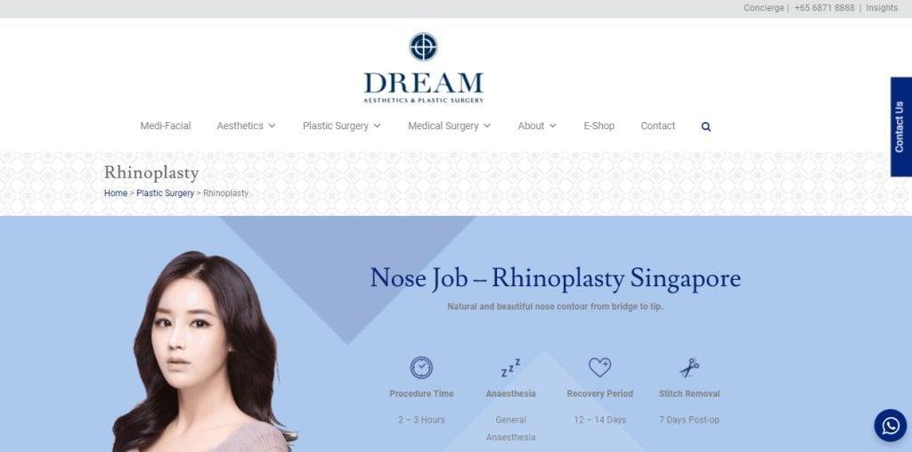 Dream Top Rhinoplasty Clinics in Singapore