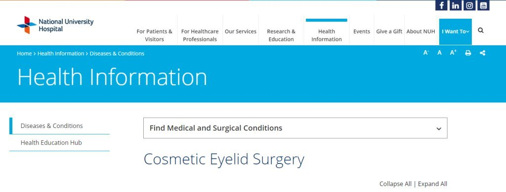 NUH Top Double Eyelid Surgery Clinics in Singapore