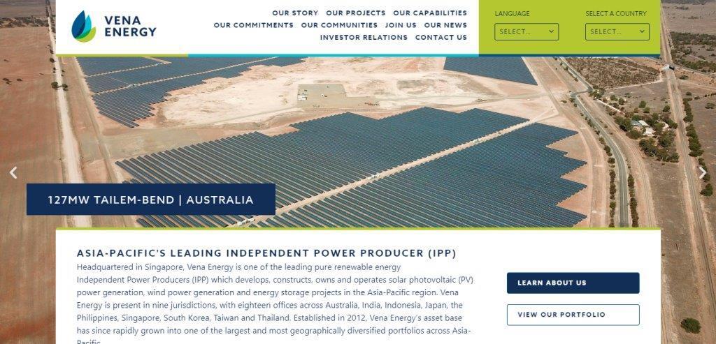 Vena Energy Top Renewable Energy Service Providers in Singapore