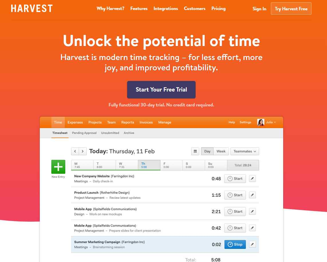 harvest The Top 27 Productivity Tools For Small Businesses
