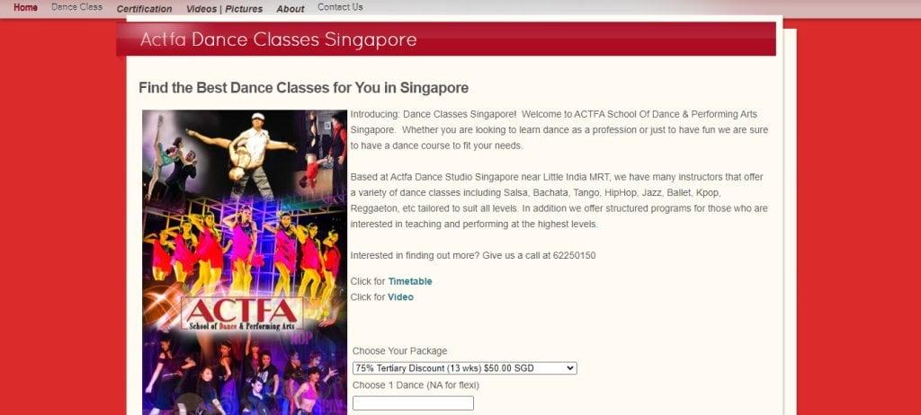Actfa Top Samba Dance Studios in Singapore
