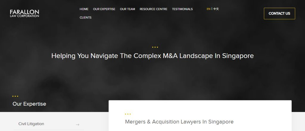Farallon Top Mergers & Acquisition Law Firms in Singapore