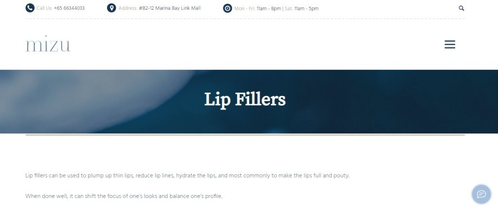 Mizu Top Lip Fillers Clinics in Singapore