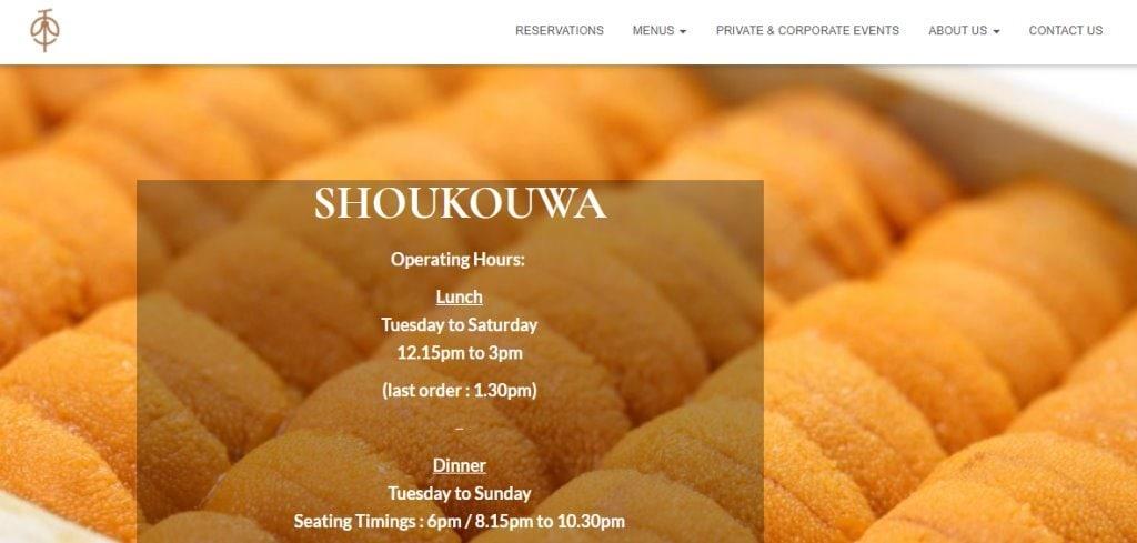 Shoukouwa Top Omakase Restaurants in Singapore