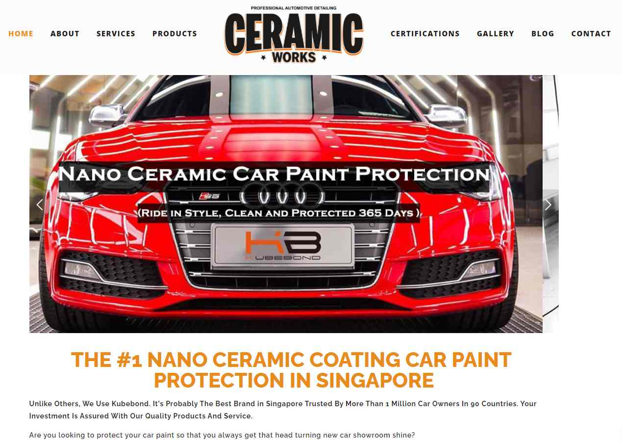 ceramic works Top Car Grooming Services in Singapore