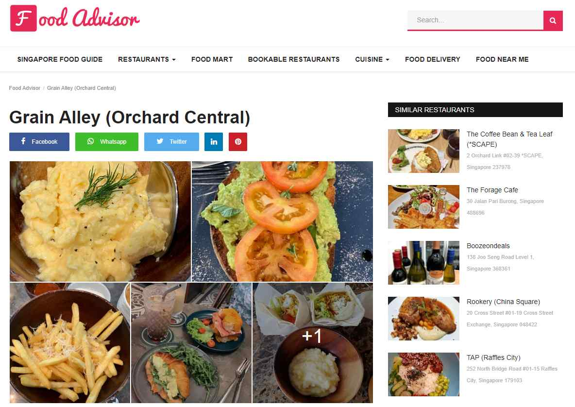 grain alley Top Brunch Cafes in Singapote