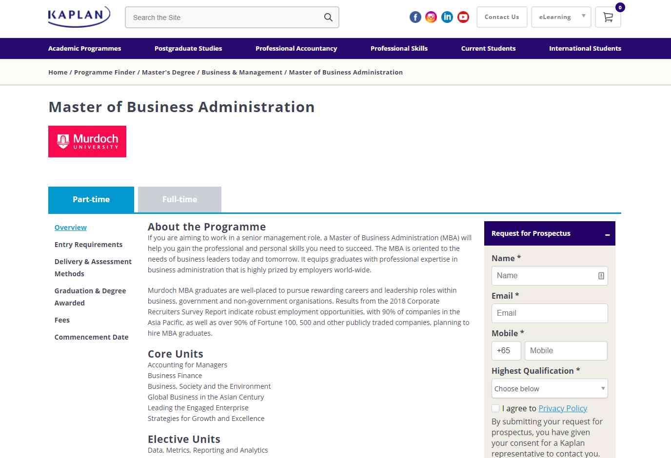 kaplan Top MBA Programmes in Singapore