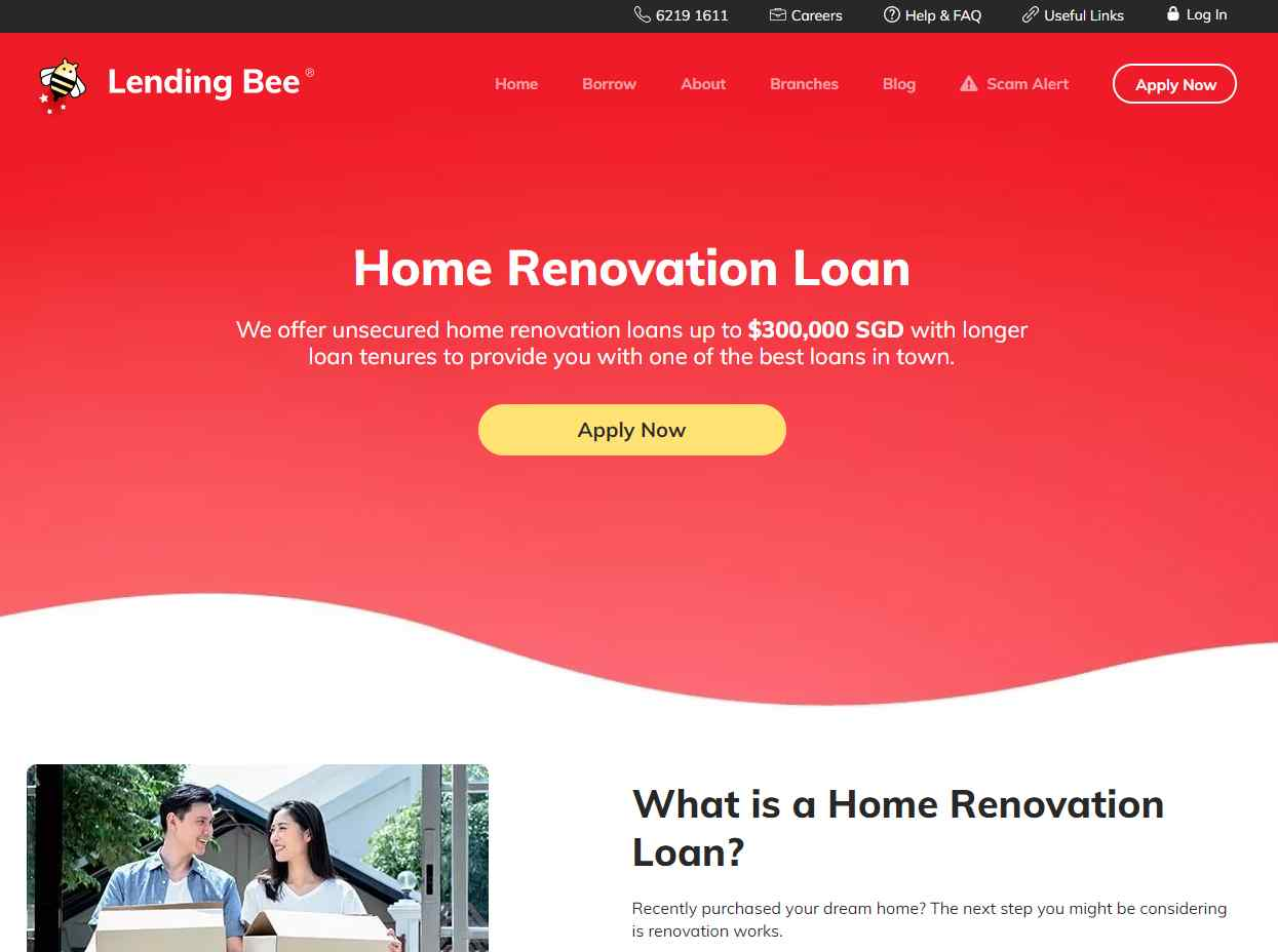 lending bee Top Renovation Loan Providers in Singapore
