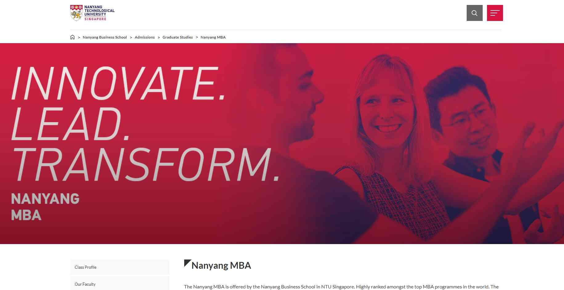 ntu Top MBA Programmes in Singapore