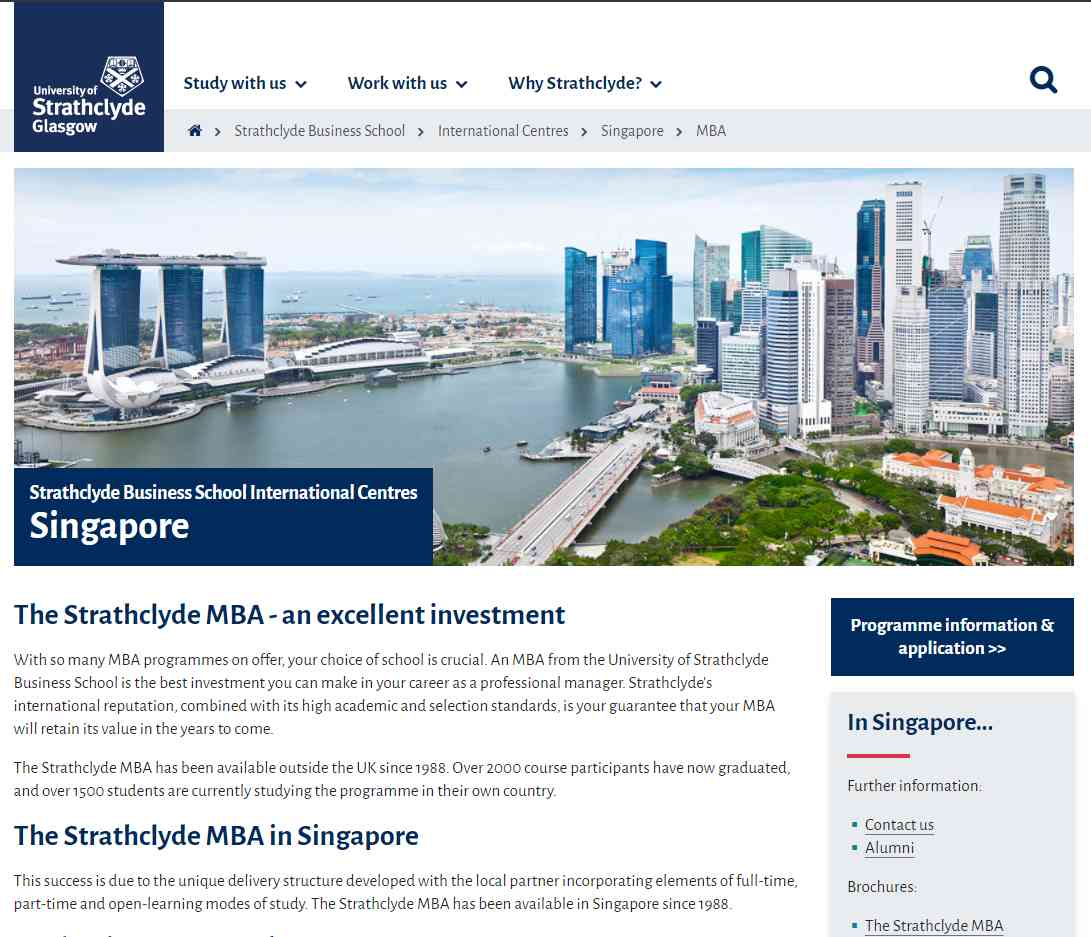 strath Top MBA Programmes in Singapore