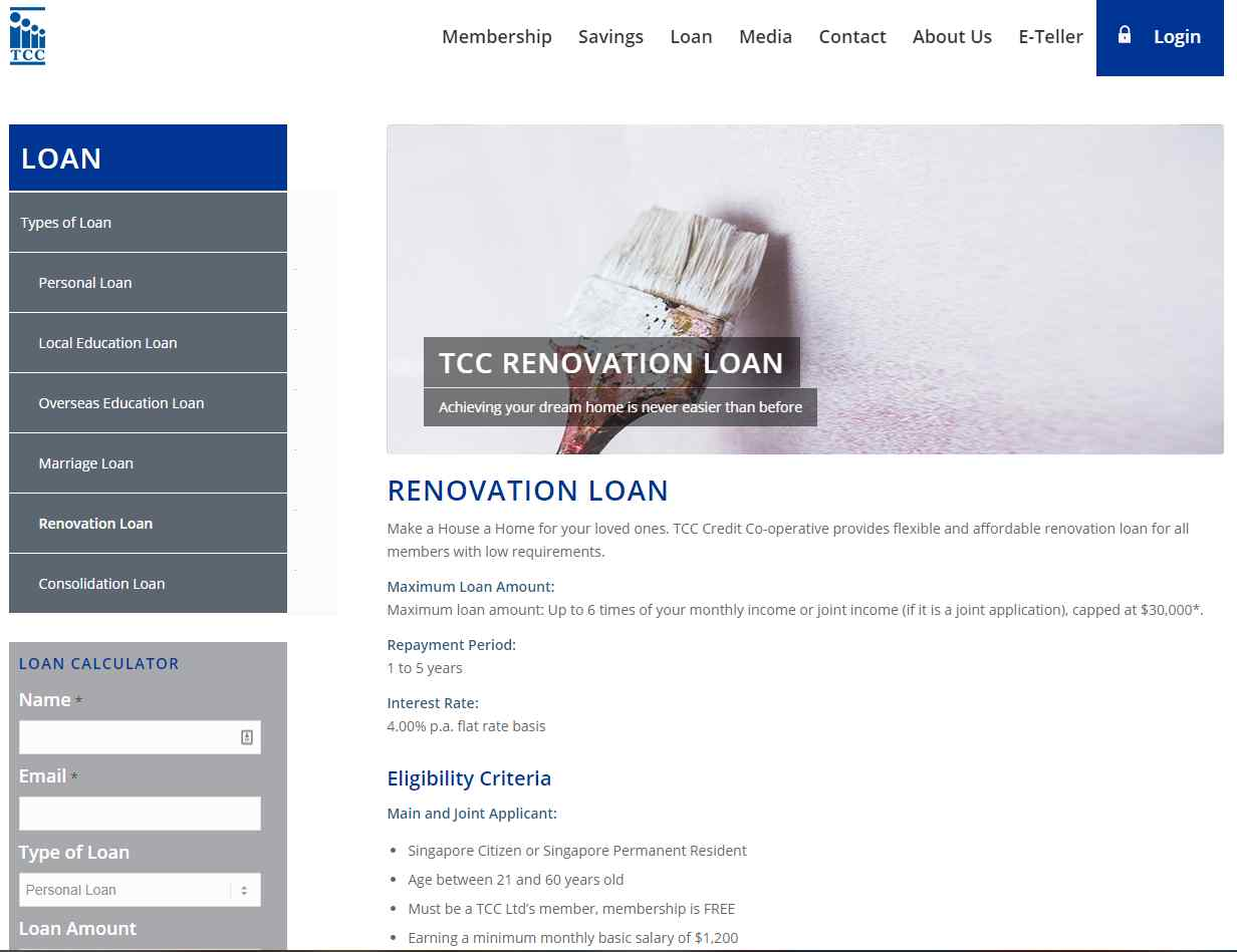 tcc Top Renovation Loan Providers in Singapore