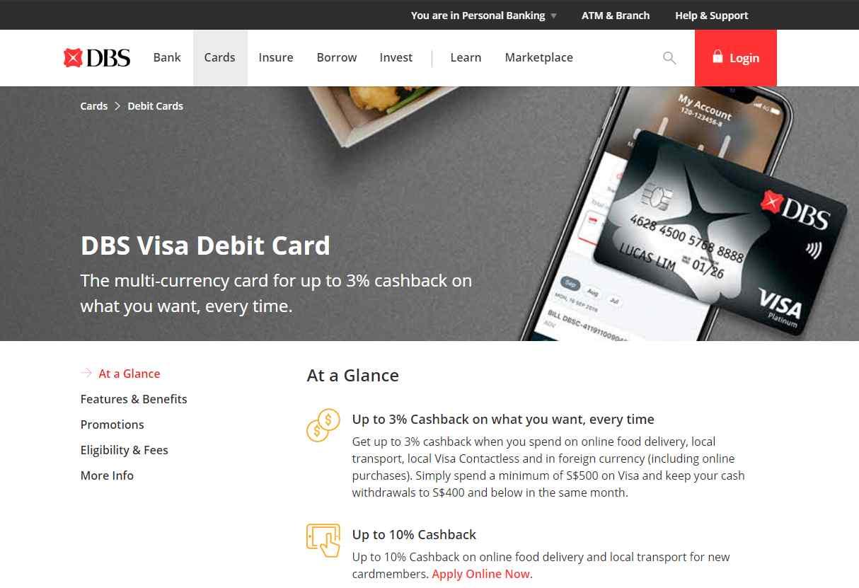 DBS Visa Debit card Top Debit Cards in Singapore