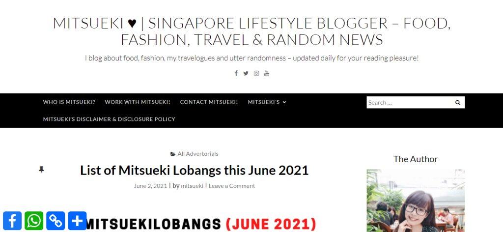 Mitsueki Top Lifestyle Blogs in Singapore