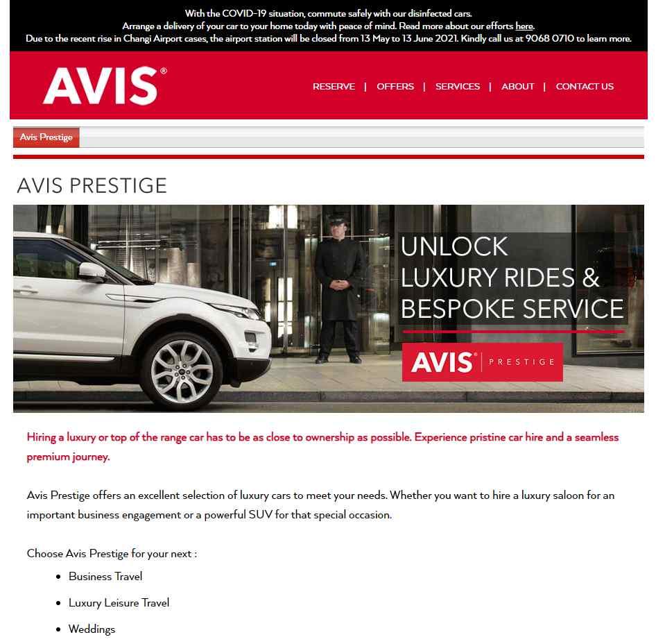 avis Top Luxury Car Rental Services in Singapore