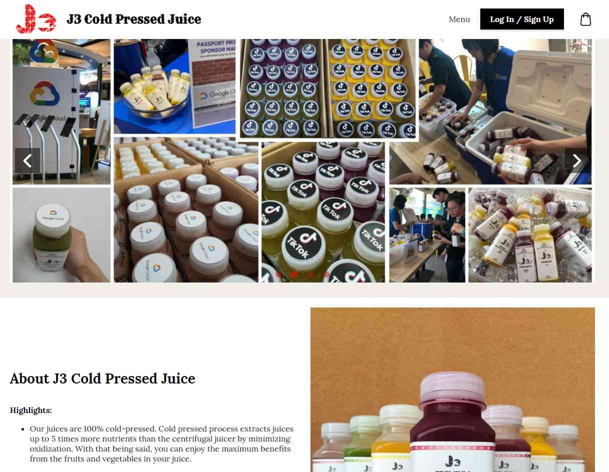 j3 cold pressed Top Juice Retailers in Singapore