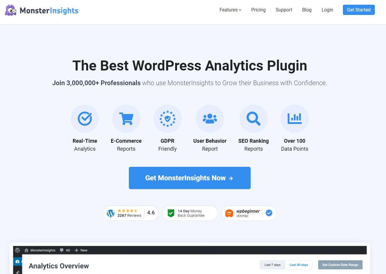 monster insights Top 20 SEO Friendly WordPress Plugins